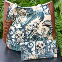 Sugar Skull Blue Tattoo Shoulder Charla Purse With Wallet