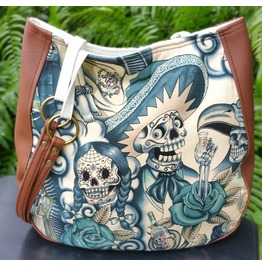 Sugar Skull Blue Tattoo Charla Purse Shoulder