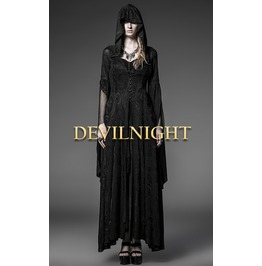 Black Pattern Hooded Gothic Vampire Medieval Dress