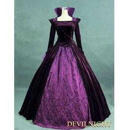 Purple Velvet And Satin Victorian Queen Costume