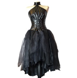 Spooky Goth Gothic Funeral Wedding Vampire Dress Gown Faux Leather