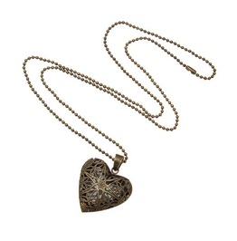 Glow In The Dark Luminous Steampunk Heart Locket Pendant Necklace