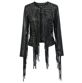 Women's Punk Metal Eyelet Tassel Faux Leather Corseted Jacket