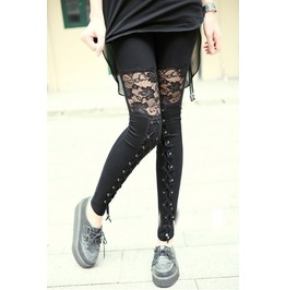 Gothic Sheer Black Floral Lace Leggings Lace Up Plus Sizes
