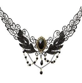 Gothic Black Lace Choker Necklace Black Gem