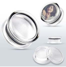 Add Your Own Image Acrylic Double Flared Screw Fit Plugs W Clear Front Plug