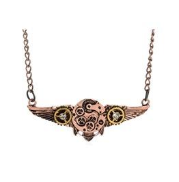 Steampunk Pilot Wings Gears Pendant Necklace