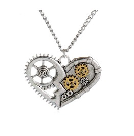 Silver Steampunk Gears Heart Pendant Necklace