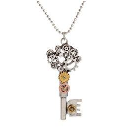 Silver/Bronze Steampunk Gears Key Pendant Necklace