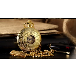 Golden Engraved Look Hand Winding Pop Open Pocket Watch With Key