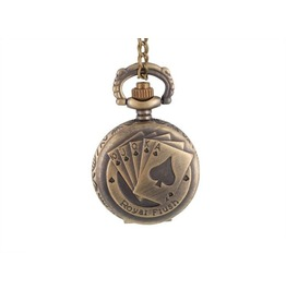 Royal Flush Poker Bronze Pop Open Quartz Pocket Watch With Chain