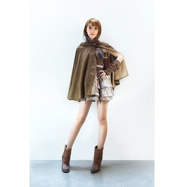 Brown Steampunk Faux Suede Hooded Long Cape Poncho Hoodie Top Plus Size