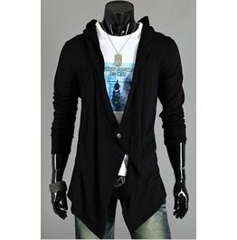 Men's Black/Gray Hooded Winter Cardigans