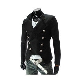 Black/Red/White Assassin's Creed Military Button Up Blazer Jacket