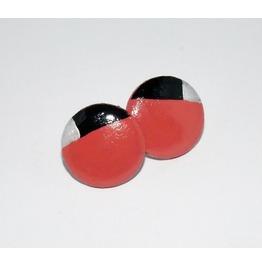 Handpainted Geometric Pink Black Silver Wooden Stud Earrings