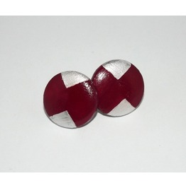 Handpainted Geometric Burgundy Silver Wooden Stud Earrings