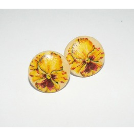 Handmade Decoupage Yellow Pansy Wooden Stud Earrings