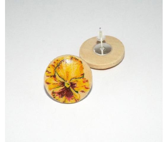 handmade_decoupage_yellow_pansy_wooden_stud_earrings_earrings_4.jpg