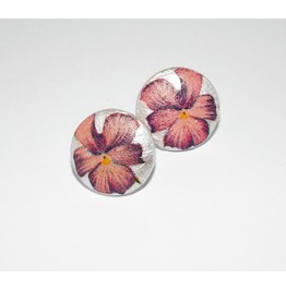 Handmade Decoupage Pink Purple Pansy Wooden Stud Earrings