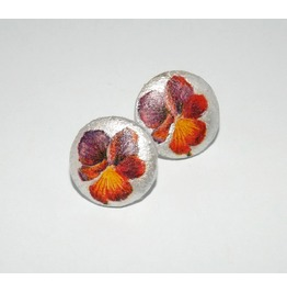 Handmade Decoupage Purple Red Pansy Wooden Stud Earrings