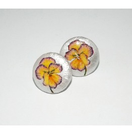Handmade Decoupage Yellow Purple Pansy Wooden Stud Earrings