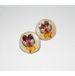 Handmade Decoupage Purple Blue Yellow Pansy Wooden Stud Earrings