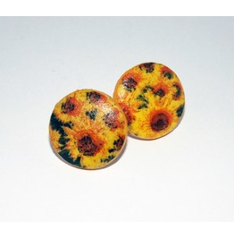 Handmade Decoupage Sunflowers Wooden Stud Earrings