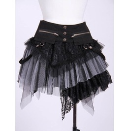 Gothic Irregular Lace Skirt Grey B21034