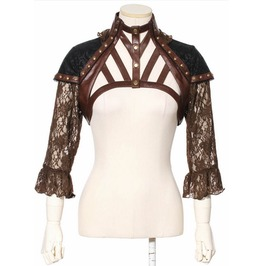 Gothic Rivets Faux Leather Spaghetti Strap Lace Women Cape Coat Brown B138