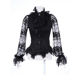 Gothic Lace Balloon Sleeve Sheer Sleeve Black Blouse B21095