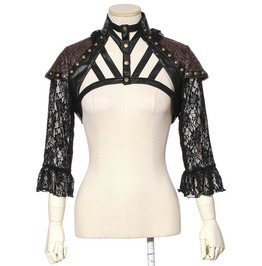 Rq Bl Gothic Rivets Faux Leather Spaghetti Strap Lace Women Cape Coat Sp138