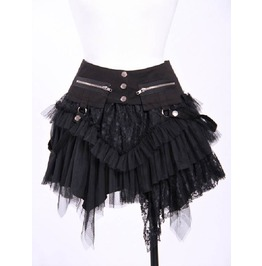 Gothic Irregular Zipper Multi Layer Lace Skirt Black B21034