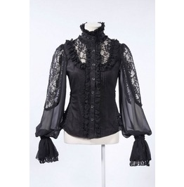 Rq Bl Gothic Baroque Balloon Sleeve Sheer Blouse 21152 B