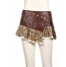 Steampunk Faux Leather Metal Chain Skirt With Waist Bag Brown B090