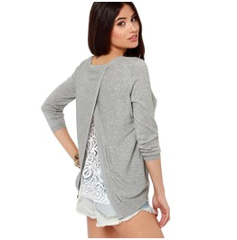 Vintage Floral Lace Backless Grey Sweatershirt