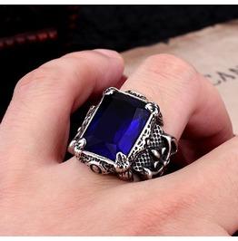 Men's Blue/Green Gem Stainless Steel Gothic Ring