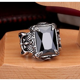 Men's Black Gem Stainless Steel Goth Ring