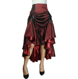 3 Way Tiered Skirt Burgundy Lk03060