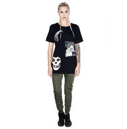 Skeleton Misfits Printed Black Short Sleeve Goth Punk T Shirt