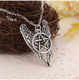 Supernatural Castiel Angel Wings Pentagram Silver Colored Necklace