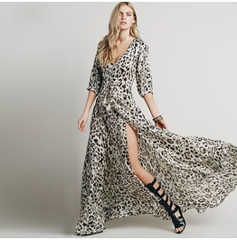 Bohemian Plunging Leopard Printed Slit Maxi Dress