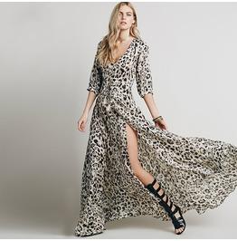 Bohemian plunging leopard printed maxi dress dresses 6