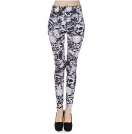 Vividly Printed Black/White Gothic Skull Graphic Stretchy Leggings