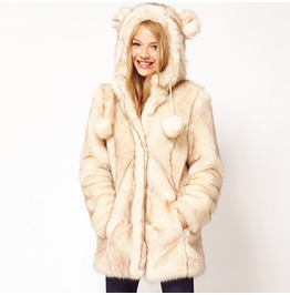 Fashion long ears faux fur women overcoat coats 6