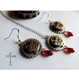 Vintage Watch Movement Blood Red Swarovski Steampunk Necklace And Earrings