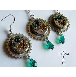 Vintage Watch Movement Emerald Green Swarovski Steampunk Necklace And Earri