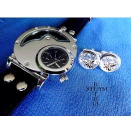 Men Steampunk Christmas Gift Set Watch And Cufflinks