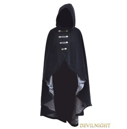 Black Velvet Gothic Hooded Cape For Women