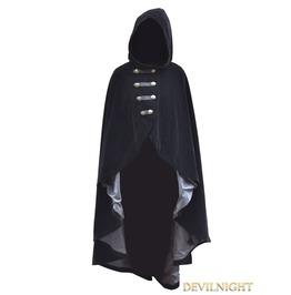 Black Velvet Gothic Hooded Cape For Women