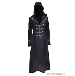 Black Velvet Gothic Hooded Long Coat For Women